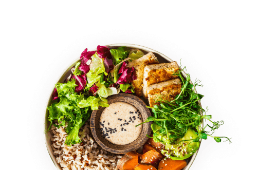 bowl with healthy food and a smartphone displaying a heykantine menu